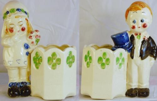Vintage Bride & Groom Flower Planter Pot Crazing Japan Wedding Cake Topper ED1