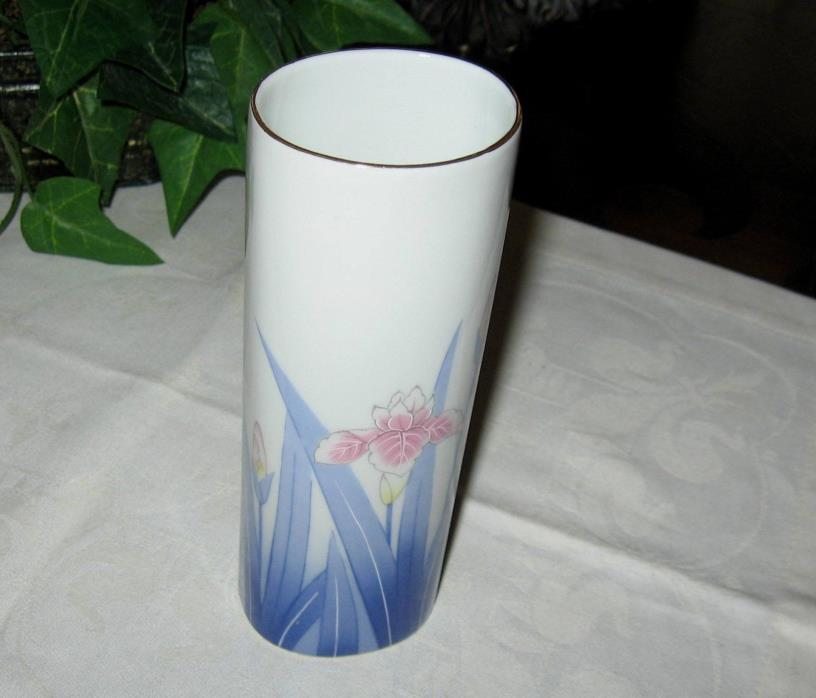 Vintage OTAGIRI china oval Vase lovely Blue White Pink Purple Iris Flowers Japan