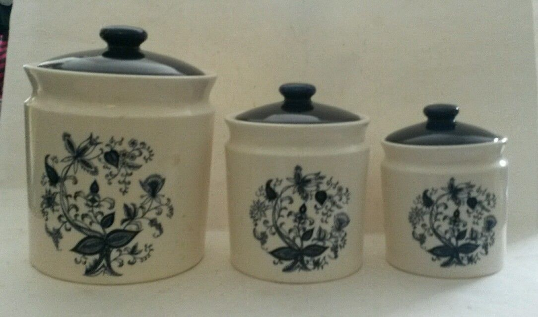 Vintage Ceramic Blue Onion Pattern Kitchen Canister Set of 3 Made in Japan