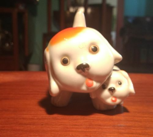 Vintage Ceramic Mother And Puppy   Figural Planter  - JAPAN - So Cute