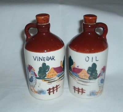 Vintage Oil and Vinegar Jugs Hand Painted Made in Japan Farm and Rooster Pattern
