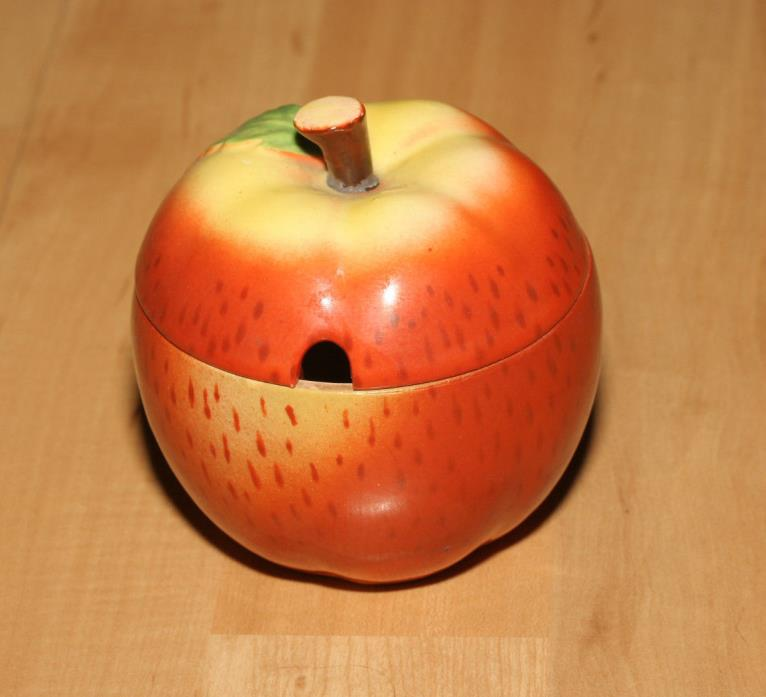 Vintage Maruhon Ware Hand Painted Ceramic Apple Japan