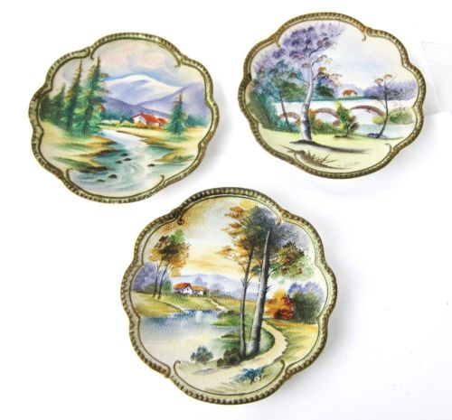 VINTAGE UCAGCO CHINA GORGEOUS HAND PAINTED TEXTURED CERAMIC PLATES MADE IN JAPAN