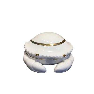 Attractive Ceramic Crab Figure Covered Box, White
