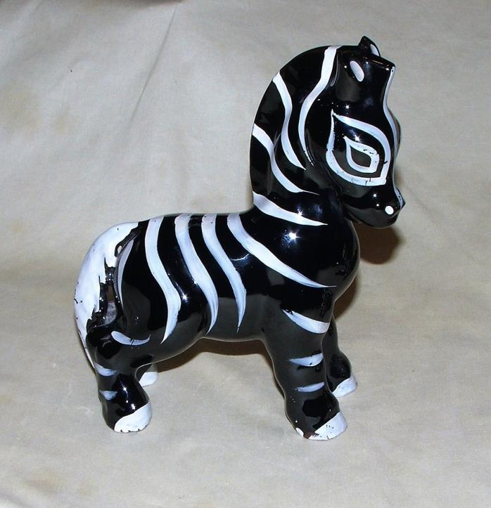 Vintage Wales Japan ZEBRA Figurine Pottery Porcelain Black White