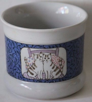 Takahashi San Francisco cats on bed Porcelain cache pot vintage