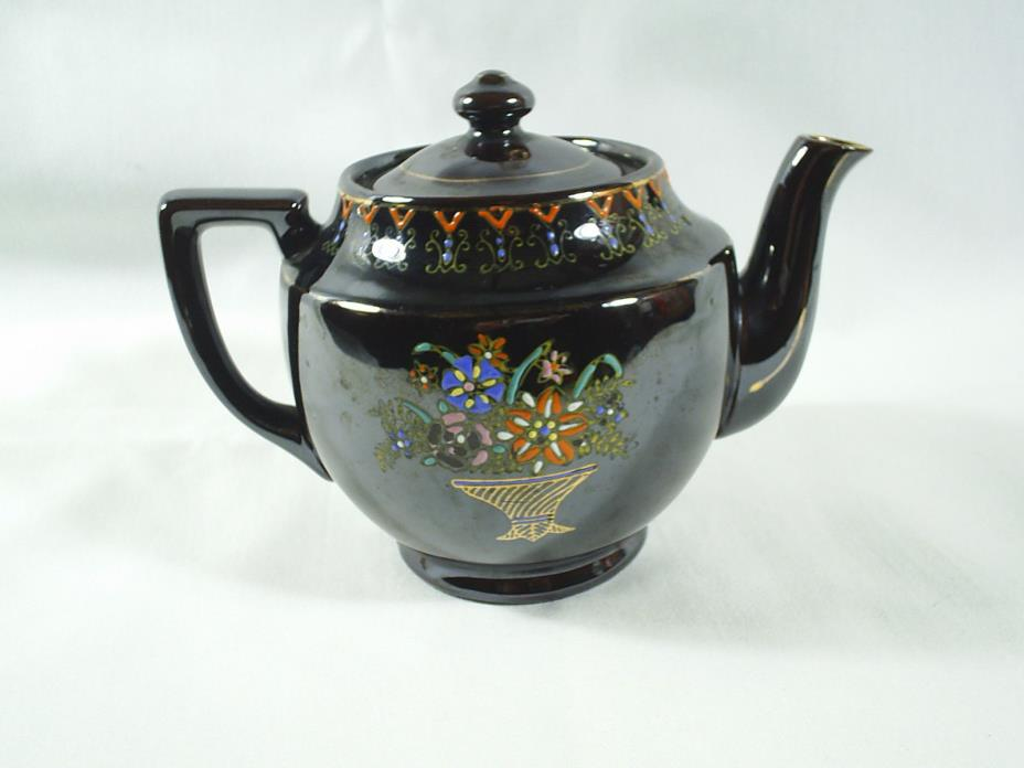 Vintage Japanese Brown Tea Pot Redware Handpainted Floral