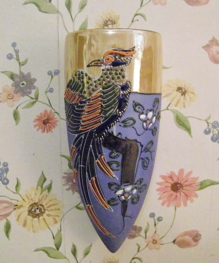 Vintage Hotta Yu Shoten Japan Wall Pocket Moriage Phoenix Bird Luster Porcelain