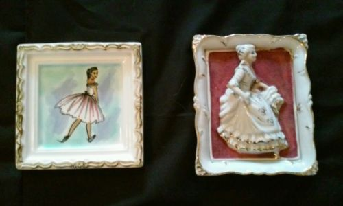 2 Vintage Ceramic Hand-Painted Picture Frames Made in Japan