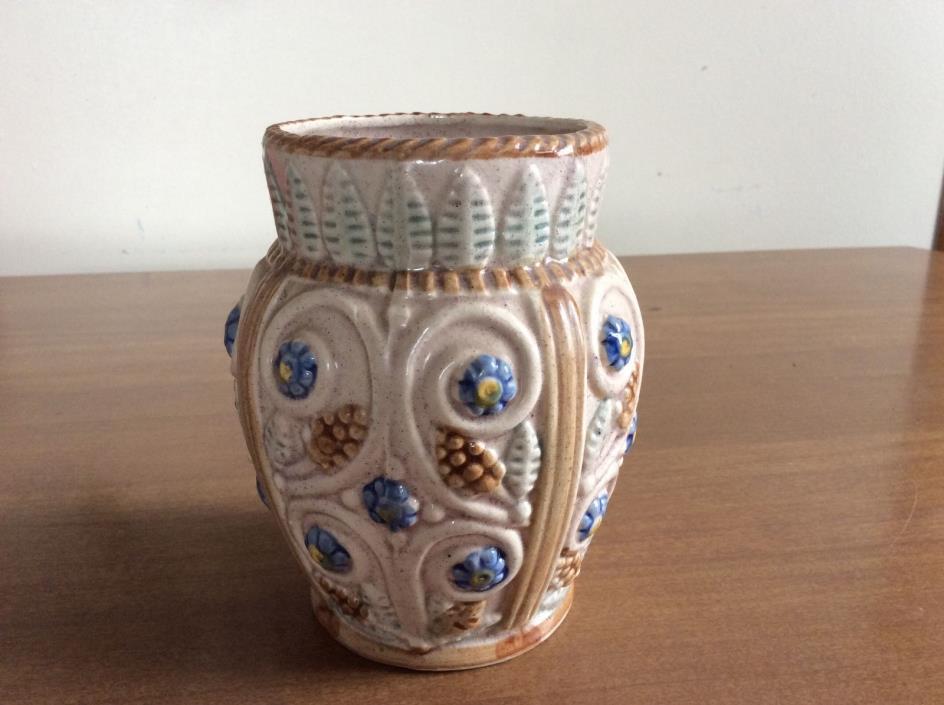 Vintage Stoneware Pottery VASE JAPAN Flowers
