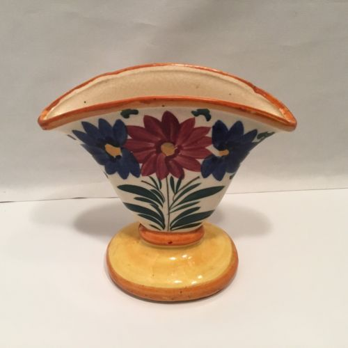 Floral Fan Vase Made in Japan Yellow Blue Flowers Ceramic Small Japanese
