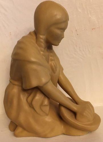 Van Briggle Pottery Vintage Golden Indian Madien Statue Grinding Corn