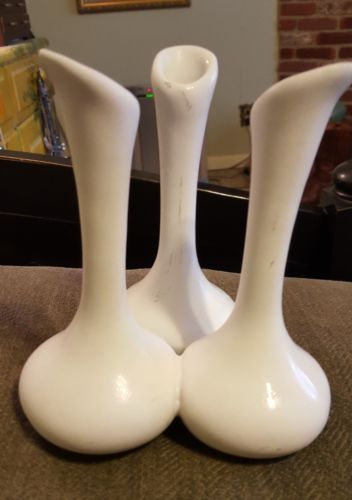 Vintage Van Briggle White Matte Triple Bud Vase
