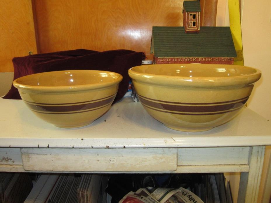 Antique Weller Yellow Ware Pottery Mixing Bowls Brown Stripes 12
