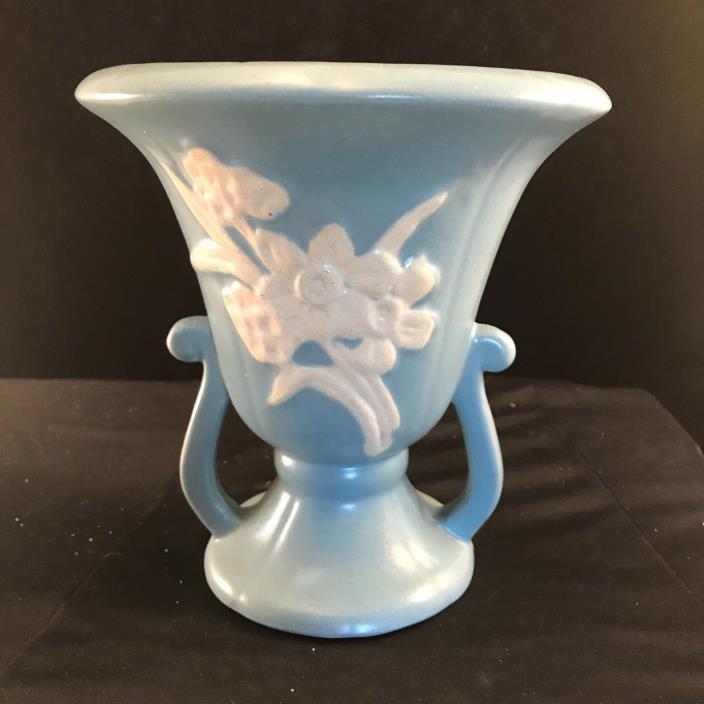 Vintage Weller Art Pottery Cameo Blue Daffodil Mantle Vase Pedestal Urn #3