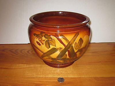 Decorative vintage planter vase colorful floral design Weller Dickens Ware