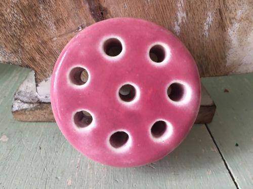 Vintage WELLER Pink Flower Frog - 8 Holes