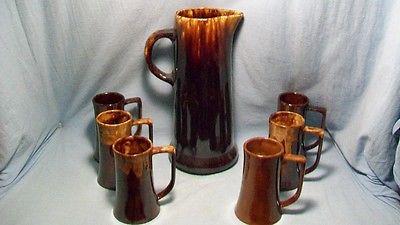 Vintage Stoneware Pitcher And Six Mugs