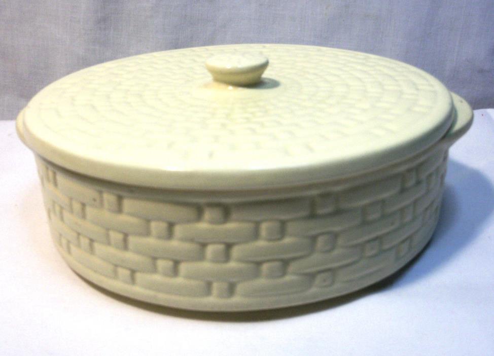 Rare Weller Pottery Lidded Candy Dish Bowl Basket Weave Pattern Ivory 7