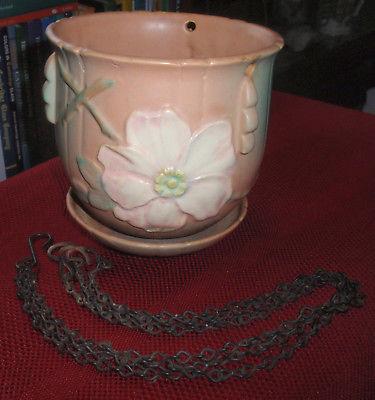 Vintage WELLER Pottery WILD ROSE Matte PEACH Hanging PLANTER w/ Original CHAINS
