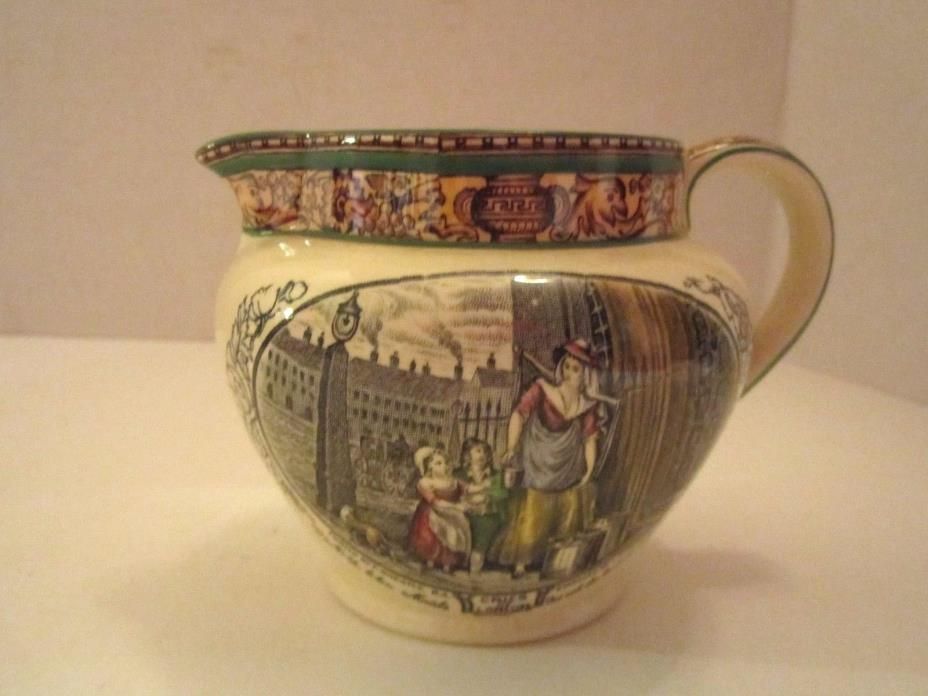Vtg Adams Pottery England Luster Transferware Cries Of London Creamer Pitcher