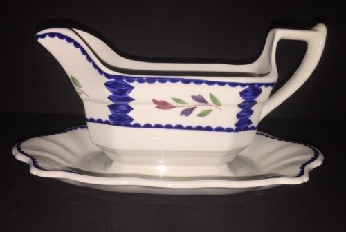 Adams Lancaster English Ironstone Gravy Boat With Attached Underplate 2896