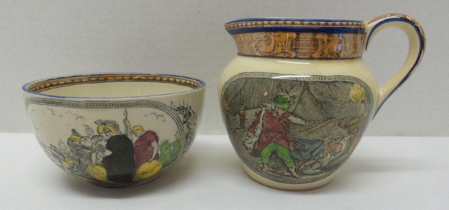 Vintage ADAMS England China Creamer Open Sugar Bowl SHAKESPEARE Scenes