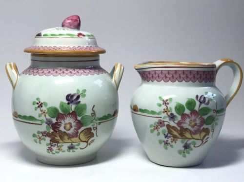 Adams Calyx Ware Carolynn SUGAR BOWL & CREAMER English Ironstone
