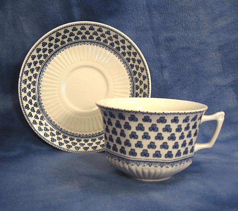 Adams BRENTWOOD China Cup & Saucer Set English Ironstone Blue Shamrocks