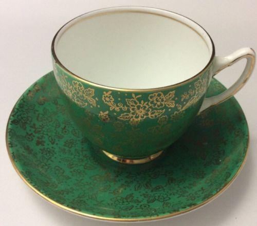 ELEGANT VINTAGE ADDERLEY GREEN CUP SAUCER GOLD LACE DESIGN~CHINTZ~FLORAL~ENGLAND