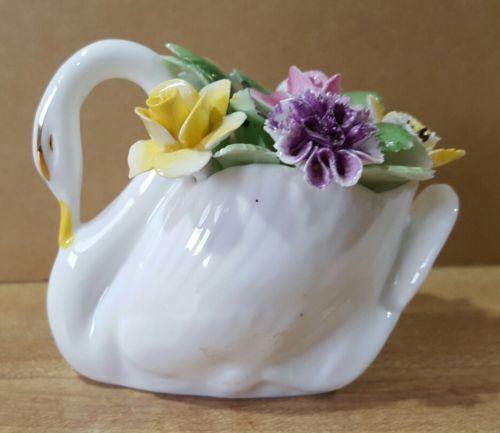 Vintage Antique Royal Adderley Floral Bone China Swan Made in England