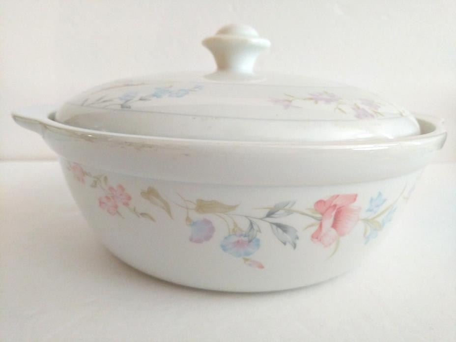American Limoges Flower Round Baking Casserole Dish with Lid 8 3/4