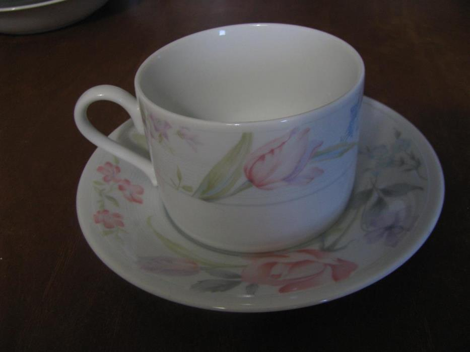 American Limoges Flowers Tea Cup And Saucer