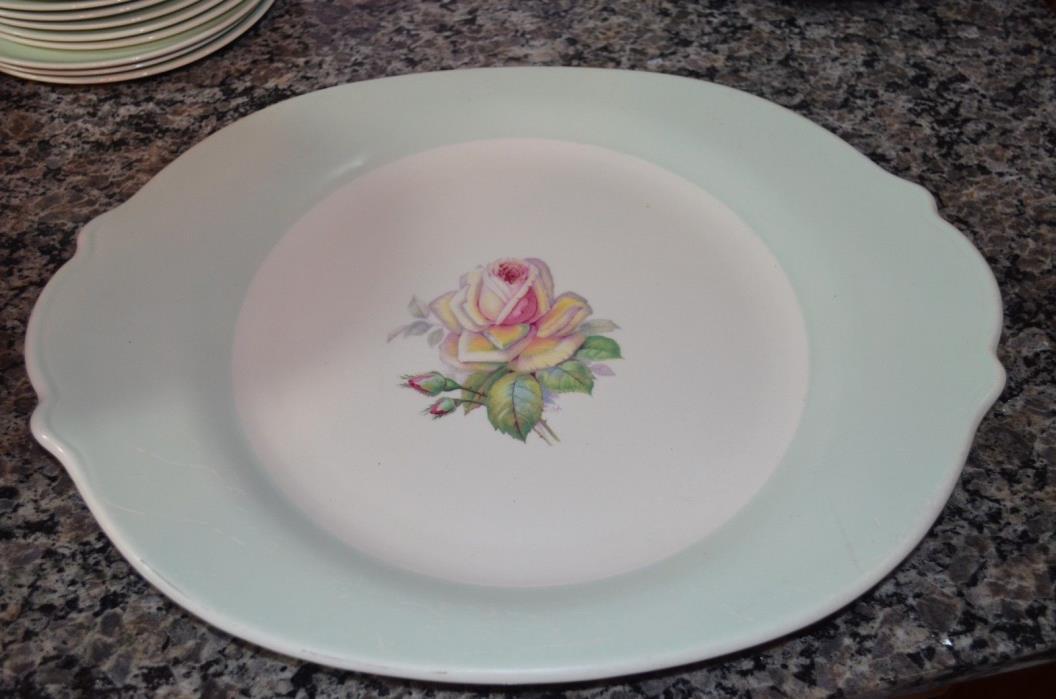 1 American Limoges Tea Rose Dustitone Green Large platter 15