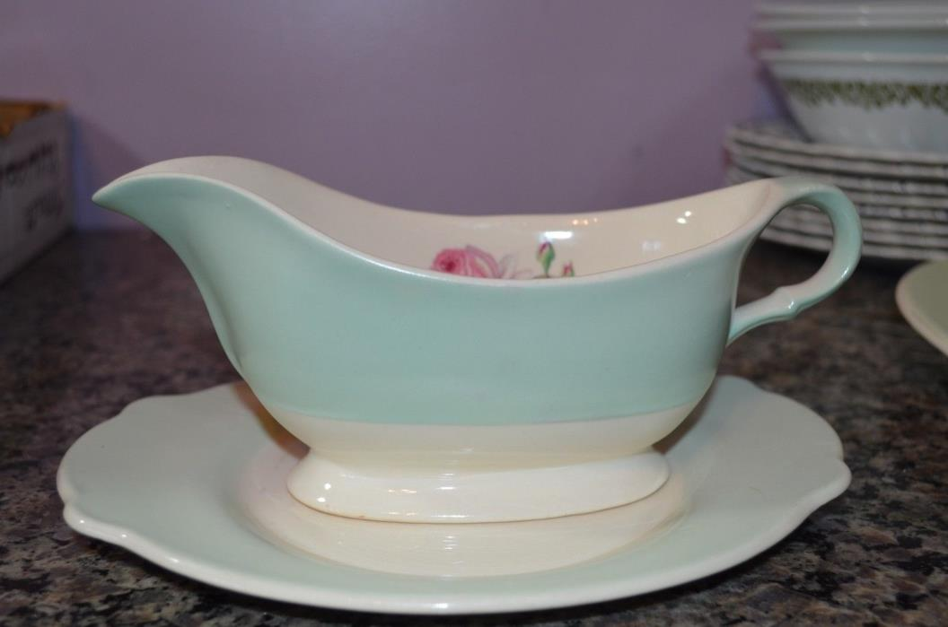 American Limoges Tea Rose Dustitone Green Gravy Boat and under plate