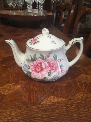 Vintage Staffordshire England Crown Dorset Floral Flowers Teapot  Pink Peony
