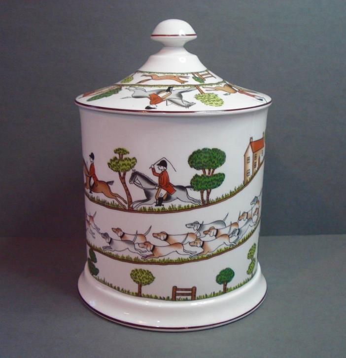 Crown Staffordshire ~ Hunting Scene ~ Biscuit Barrel & Lid
