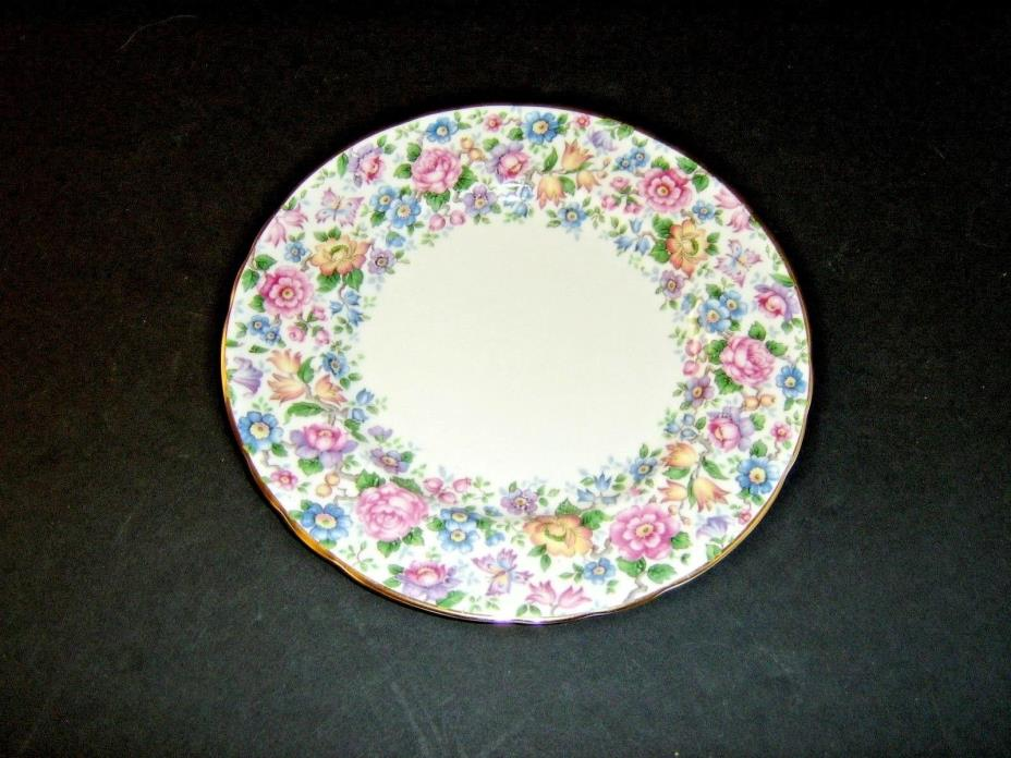 CROWN STAFFORDSHIRE ENGLAND SPRINGTIME FLORAL CHINTZ 8 1/4