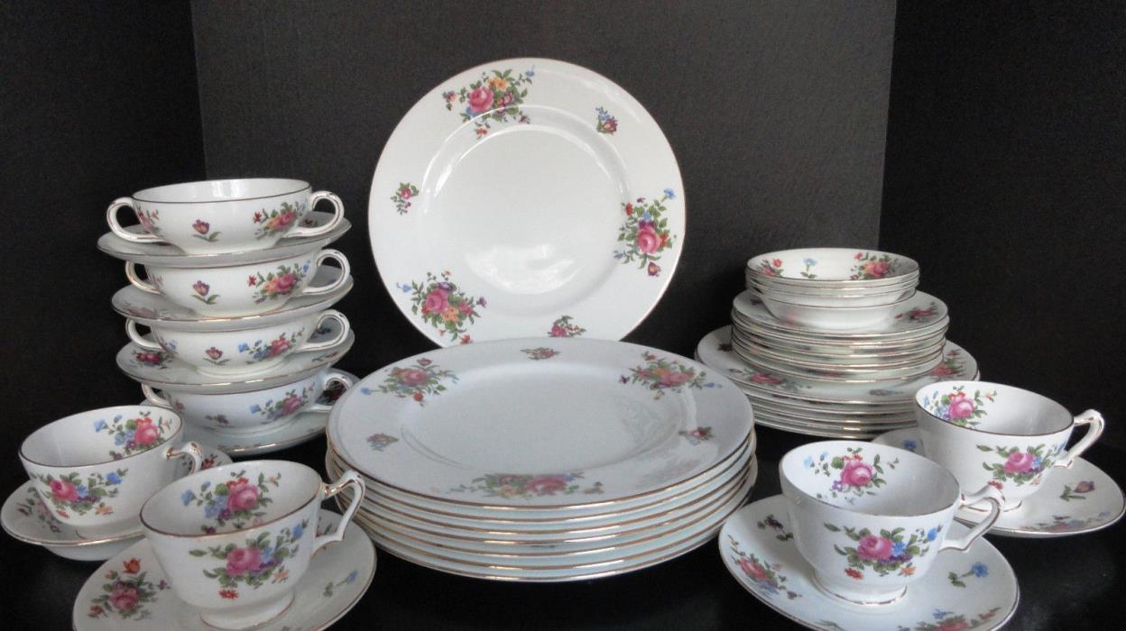 Crown Staffordshire Roses Formal Dinner Service Tableware Set 41 PIECES