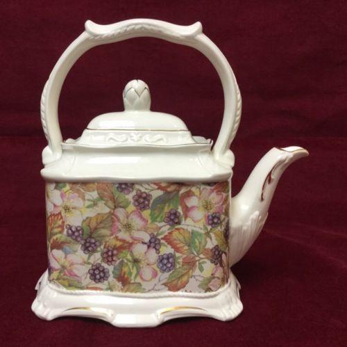 Crown Dorset Teapot Staffordshire England with Blackberries Design