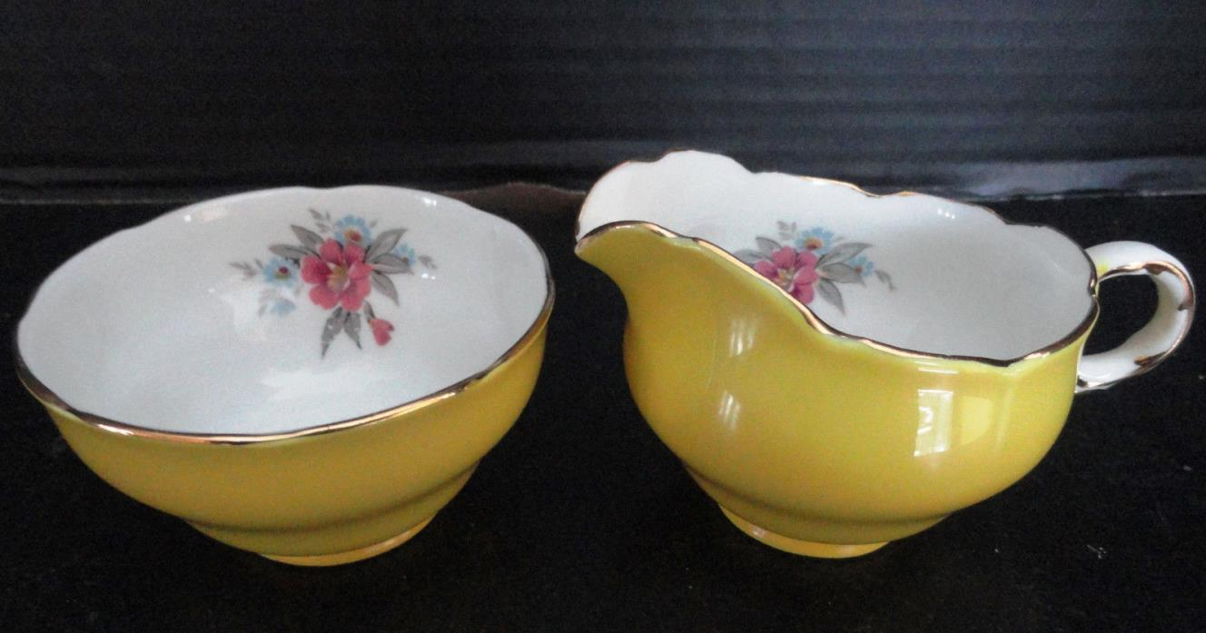 MELBA BONE CHINA Creamer & Sugar Yellow with Pink Flowers Inside Gold Trim