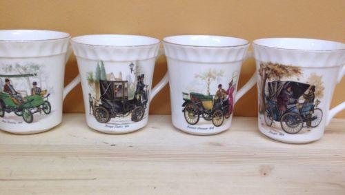 4-Crown Staffordshire England Fine Bone China Coffee Mugs Daimler  Peugeot Gilt