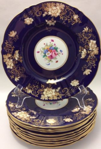 BEAUTIFUL CROWN STAFFORDSHIRE COBALT BLUE GOLD FLORAL1 DINNER PLATE(s) A14Y12