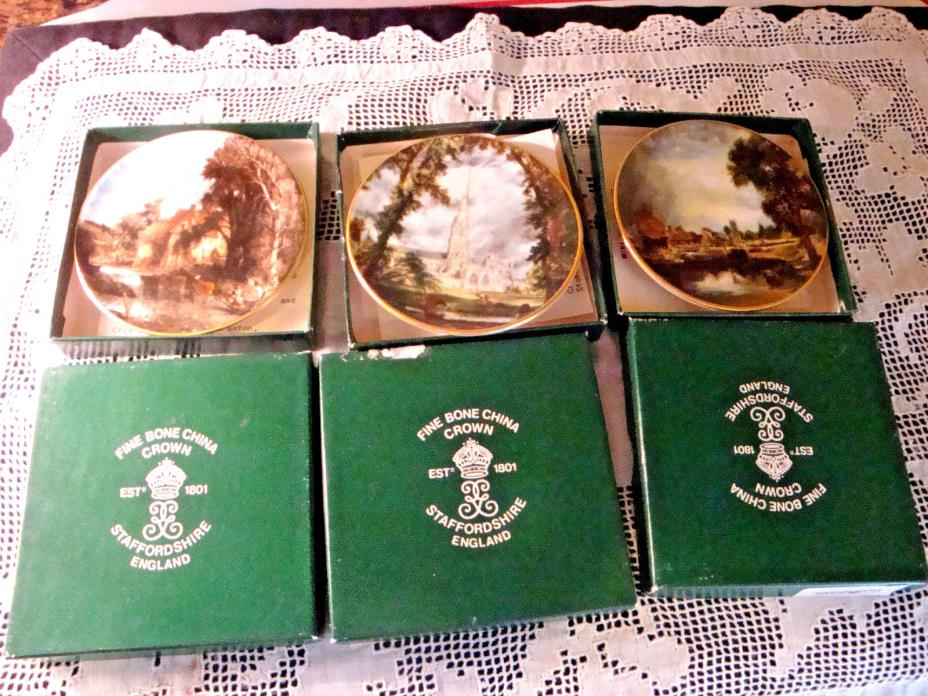 SET OF 6 VINTAGE CROWN STAFFORDSHIRE Fine Bone China MINI Wall Plaqes