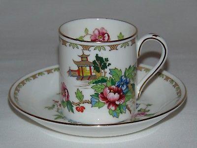 VINTAGE BONE CHINA CROWN STAFFORDSHIRE DEMI TASSE TEA CUP & SAUCER SET PAGODA