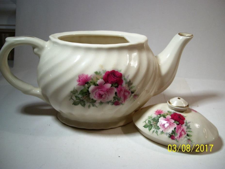 Pitcher, English Crown China, Rose pattern