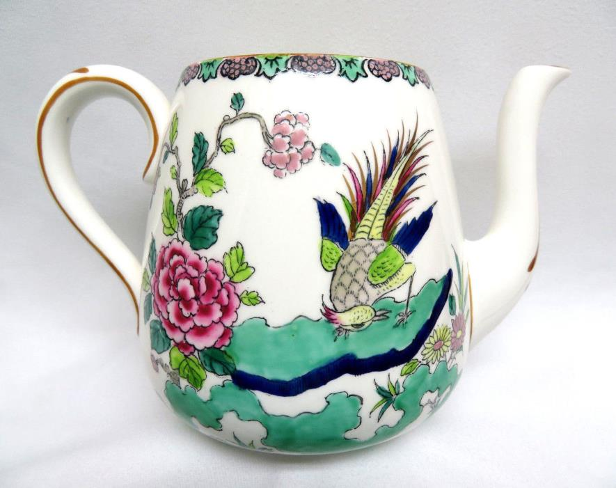 Vintage Crown Staffordshire England ROCK BIRD Bone China TEAPOT ~ No Lid ~ 5 Cup