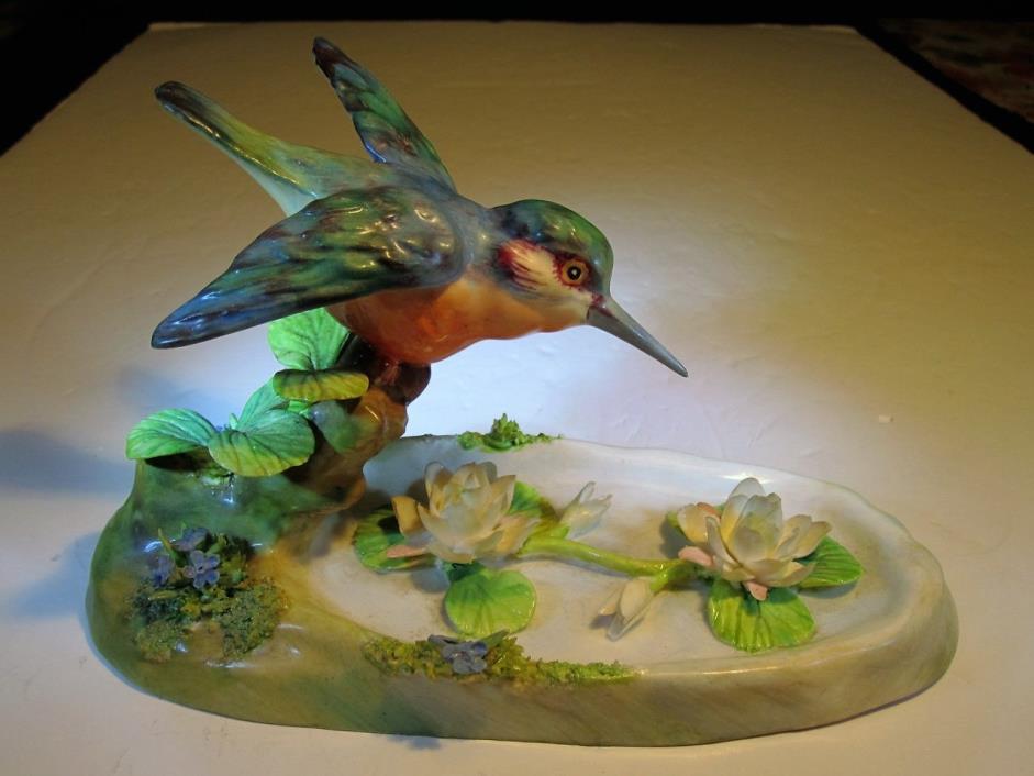 VTG J T Jones Crown Staffordshire New Kingfisher Bird Figurine Over Waterlilies