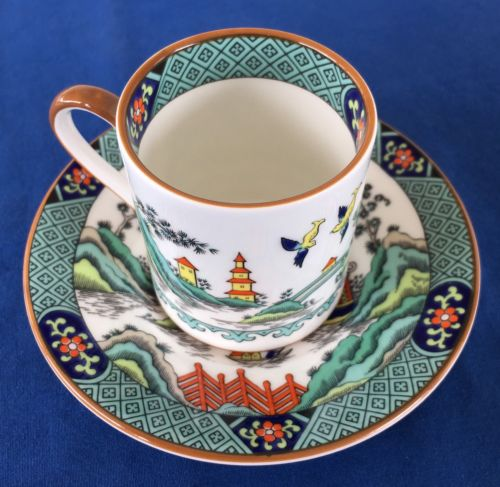 Demitasse Tea Cup & Saucer Ye Olde Chinese Willow Coalport England Bone Pagoda