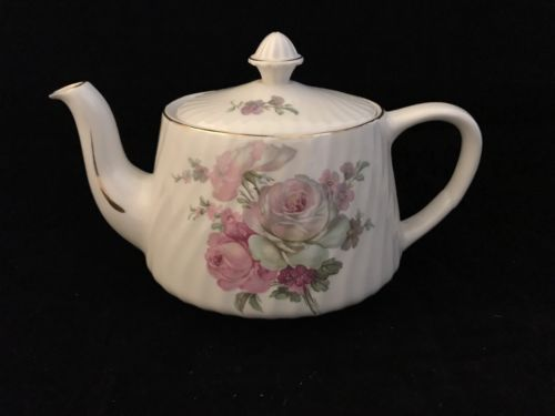 CROWN DORSET -STAFFORDSHIRE - TEAPOT WITH PINK FLOWERS